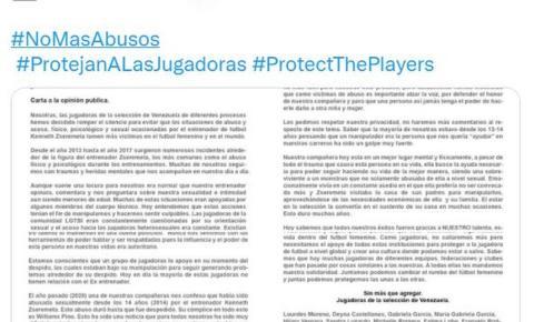 Jogadoras de futebol da Venezuela acusam ex-técnico de abuso sexual